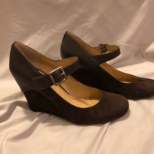 Nine West brown leather and suede Mary Jane wedge
